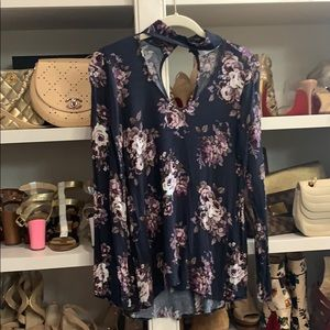 Harper floral top navy small